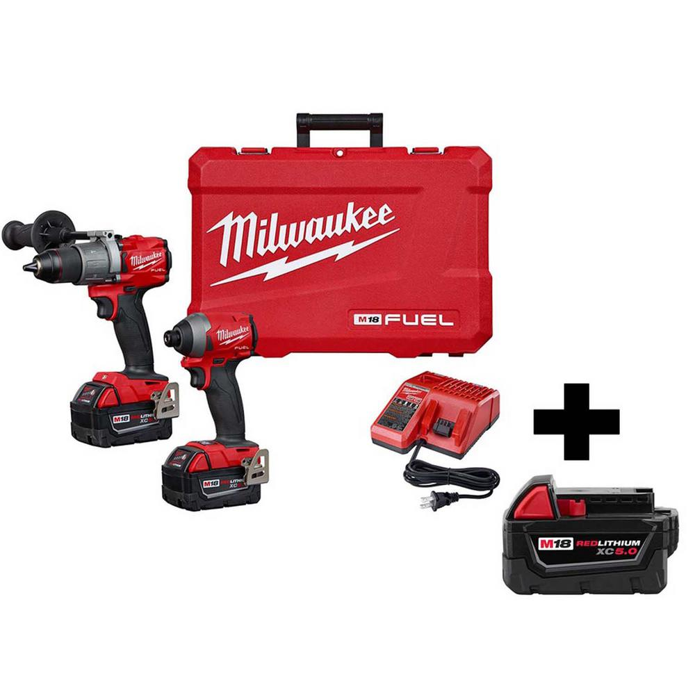 Milwaukee M18 FUEL 18-Volt Lithium-Ion Brushless Cordless Hammer Drill & Impact Driver Combo Kit (2-Tool) W/ Free 5.0Ah Battery