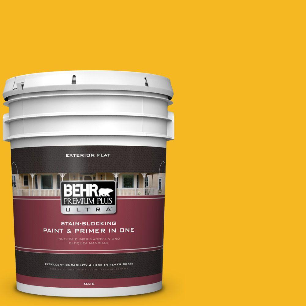 5 gal. #HDC-MD-02A Yellow Grove Flat Exterior Paint