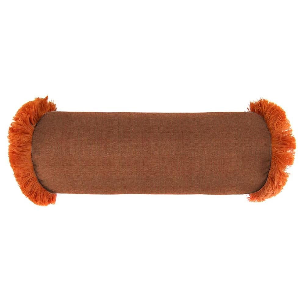 Jordan Manufacturing Sunbrella 7 in. x 20 in. Linen Chili Bolster Outdoor Pillow with Tuscan Fringe
