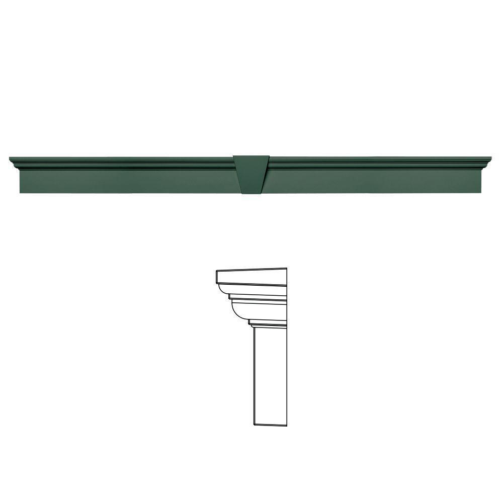 Builders Edge 6 in. x 73 5/8 in. Flat Panel Window Header with Keystone in 028 Forest Green
