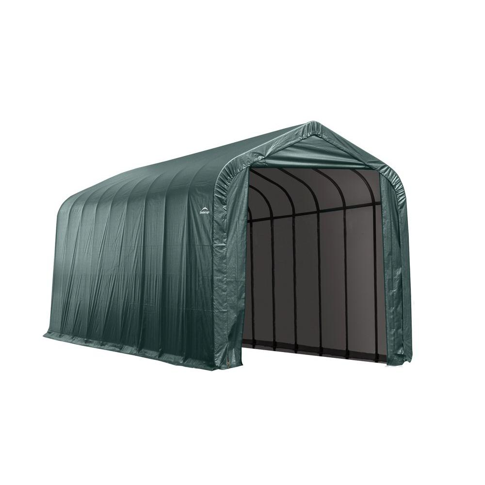 ShelterLogic 15 ft. x 28 ft. x 12 ft. Green Steel and ...