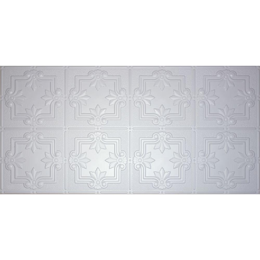 GlobalSpecialtyProducts Global Specialty Products Dimensions Faux 2 ft. x 4 ft. Tin Style Ceiling and Wall Tiles in White