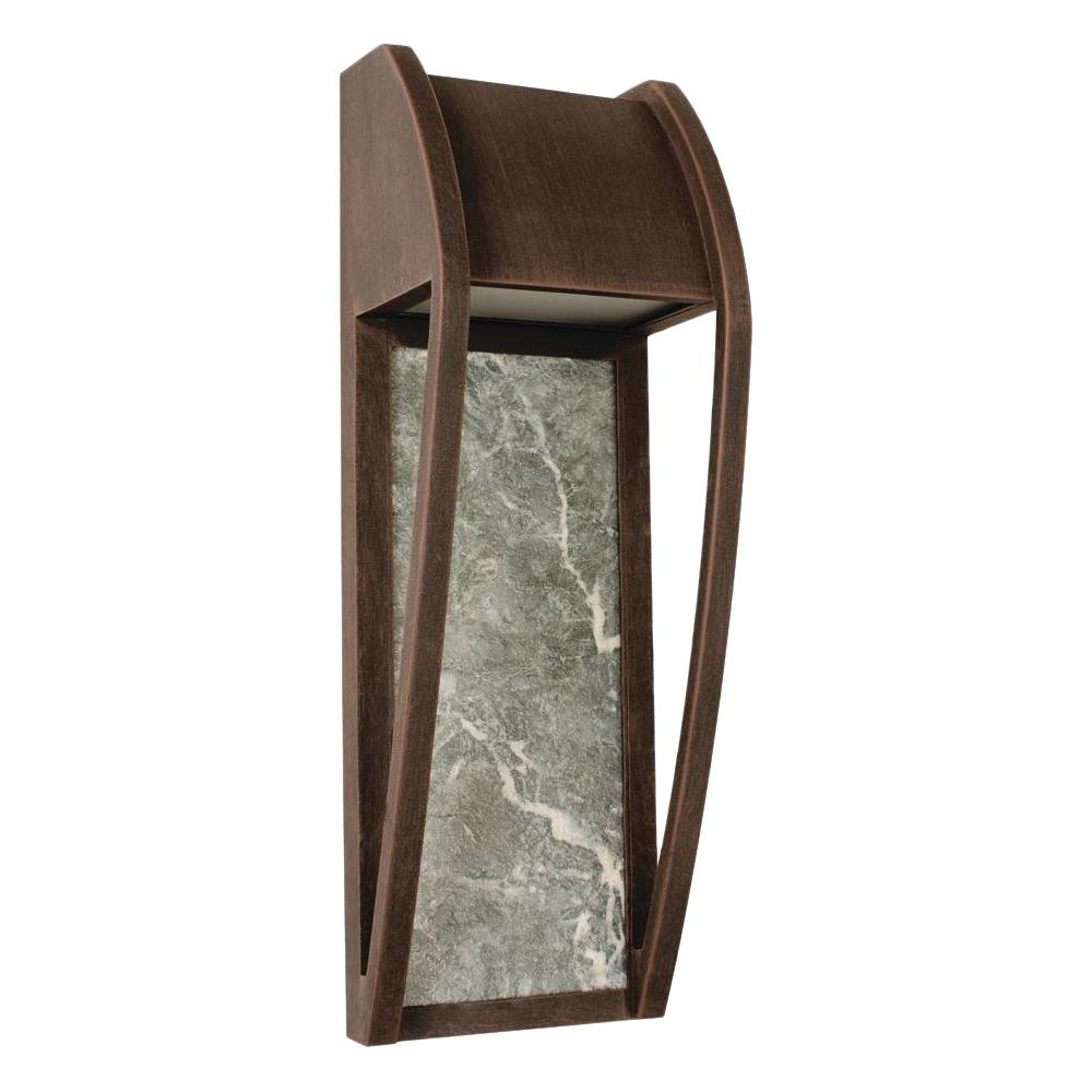 Home Decorators Collection 1-Light Bronze Patina Outdoor Integrated LED Wall Lantern Sconce with Ceramic Back Plate