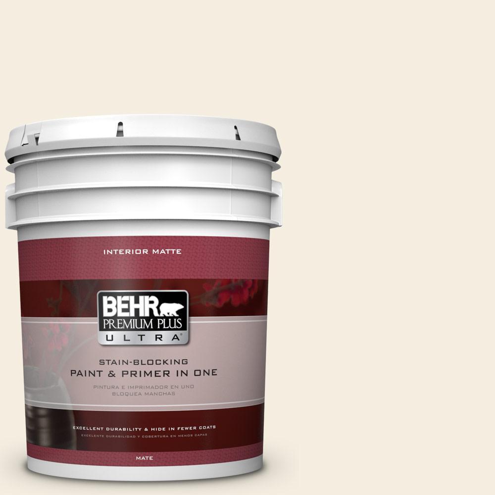BEHR Premium Plus Ultra 5 gal. #W-D-300 Eggshell Cream Flat/Matte Interior Paint