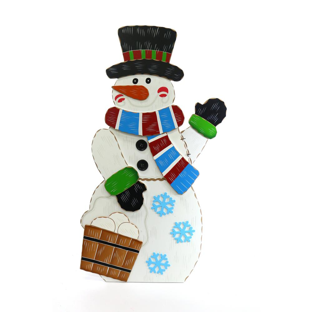 Alpine 36 in wooden christmas snowman decor wqs110l the for Christmas snowman decorations