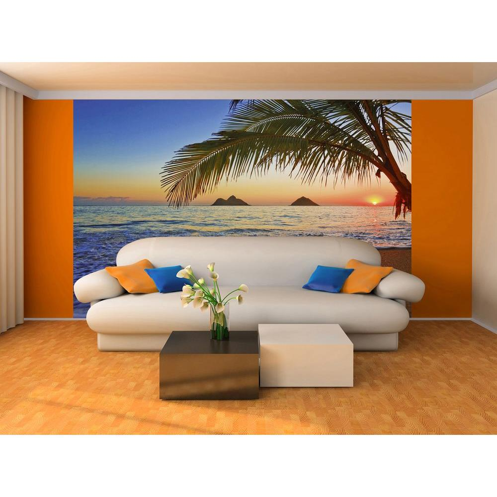 Ideal Decor 100 In X 144 In Pacific Sunrise Wall Mural