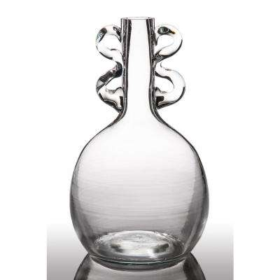 Maui Ripple Clear Glass 2-Handled Decorative Vase