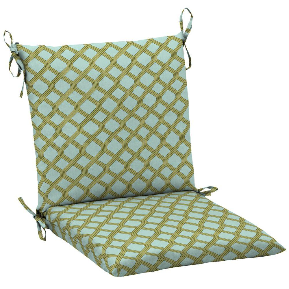 Hampton Bay Mitten Lattice Mid Back Outdoor Chair Cushion