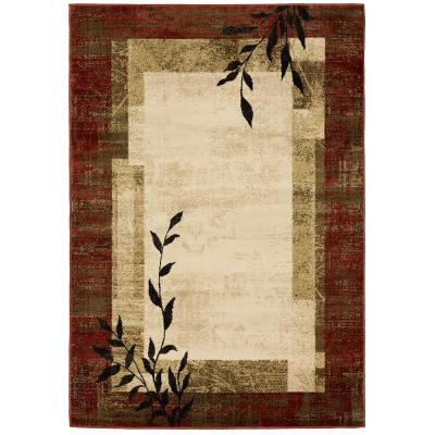 Linwood Red 8 ft. x 10 ft. Border Area Rug