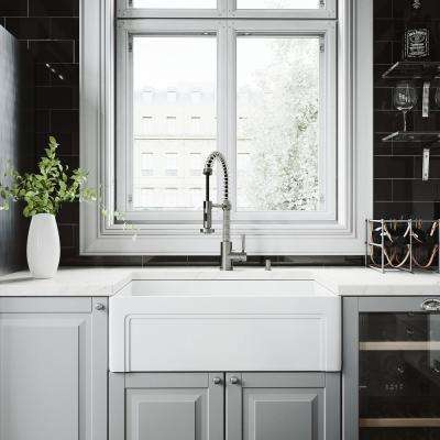 All-in-One Farmhouse Matte Stone 30 in. Single Bowl Kitchen Sink with Edison Faucet in Stainless Steel