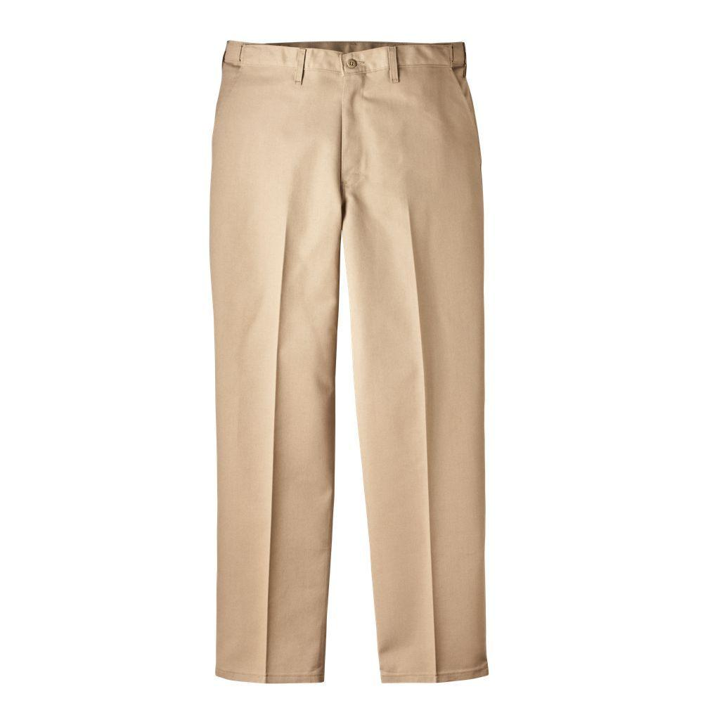Dickies Regular Fit 34 in. x 32 in. Polyester Flat Front Comfort Waist Multi-Use Pocket Pant Khaki