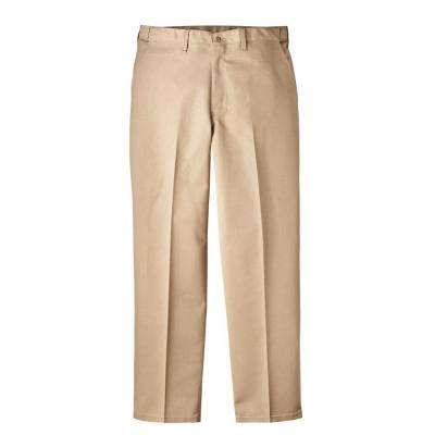 Regular Fit 34 in. x 32 in. Polyester Flat Front Comfort Waist Multi-Use Pocket Pant Khaki