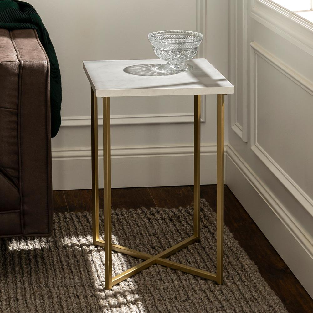 Walker Edison Furniture Company 16 in. White Marble Top Gold Legs Square Side Table, White/Gold was $77.35 now $50.63 (35.0% off)