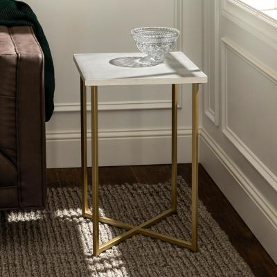 16 in. White Marble Top Gold Legs Square Side Table