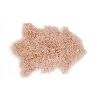 Rockwall Dusty Rose 2 ft. x 3 ft. Mongolian Sheepskin Faux Fur Single Indoor Rug