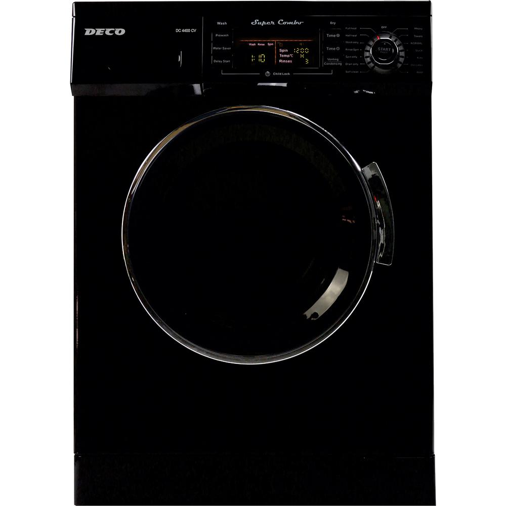 Deco All-in-one 1200 RPM Compact Washer and Electric Ventless/Vented Dryer  with Sensor Dry Feature in Black