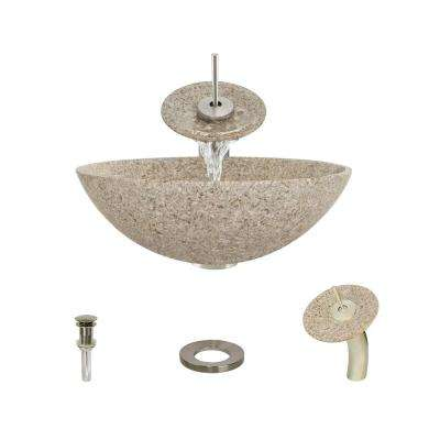 Stone Vessel Sink in Honed Basalt Tan Granite with Waterfall Faucet and Pop-Up Drain in Brushed Nickel