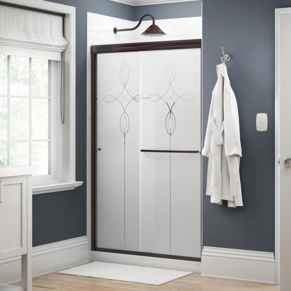 Simplicity 48 in. x 70 in. Semi-Frameless Traditional Sliding Shower Door in Bronze with Tranquility Glass