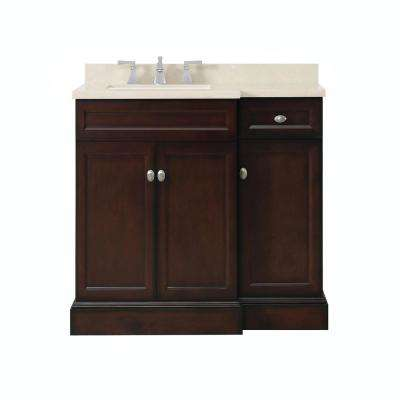 Teagen 36 in. W Bath Vanity in Dark Espresso with Cultured Stone Vanity Top in Beige with White Basin