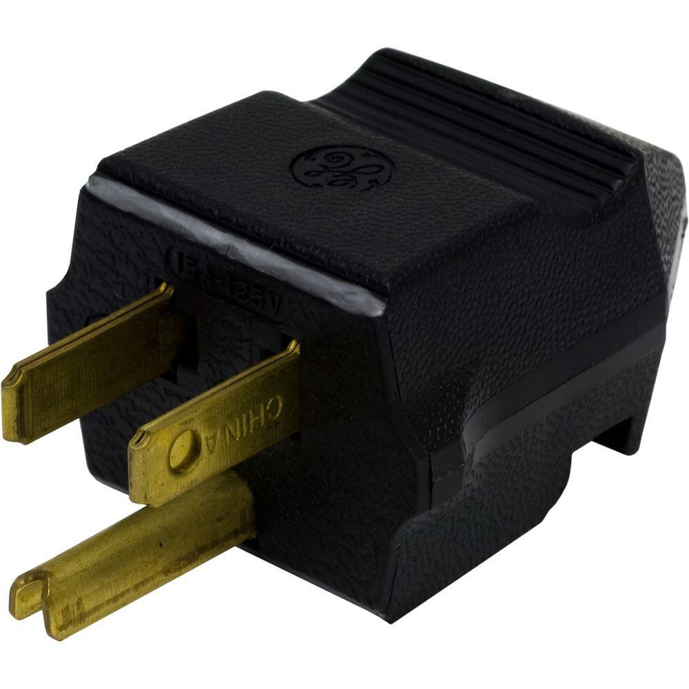 15 Amp 125-Volt Household Grounding Plug, Black
