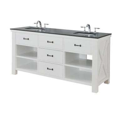 Xtraordinary Spa 70 in. Double Vanity in Pearl White with Granite Vanity Top in Black