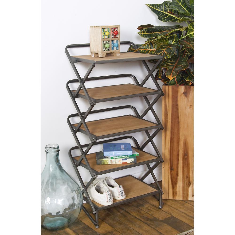 Litton Lane 36 in. Brown/Matte Gray Metal 5-shelf Etagere Bookcase with Open Back