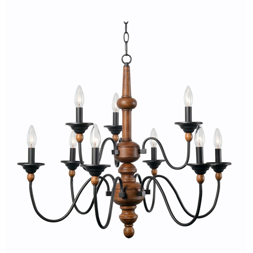 wood chandelier lighting. Kenroy Home Madeline 9-Light Wood Chandelier Lighting