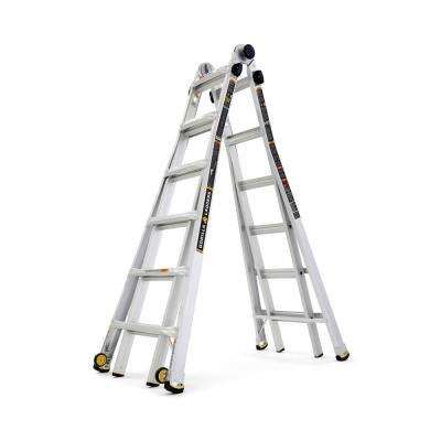 26 ft. Reach MPXW Aluminum Multi-Position Ladder with Wheels, 375 lb. Load Capacity Type IAA Duty Rating