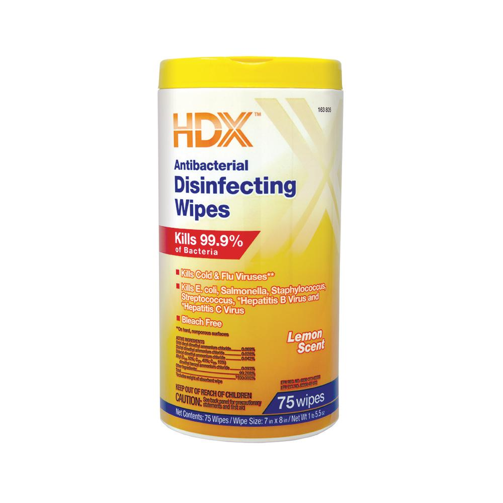 HDX Lemon Scented Antibacterial Disinfecting Wipes (75-Count)