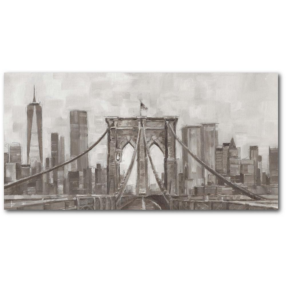 Courtside Market Charcoal Brooklyn Bridge I 12 in. x 24 in. Gallery-Wrapped Canvas Wall Art, Multi Color was $70.0 now $38.93 (44.0% off)