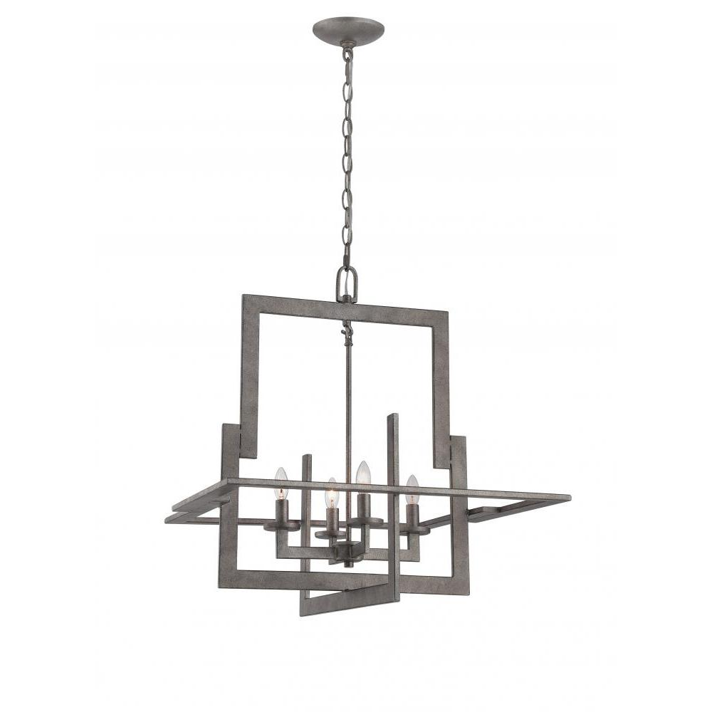 4-Light Antique Silver Chandelier with Shade