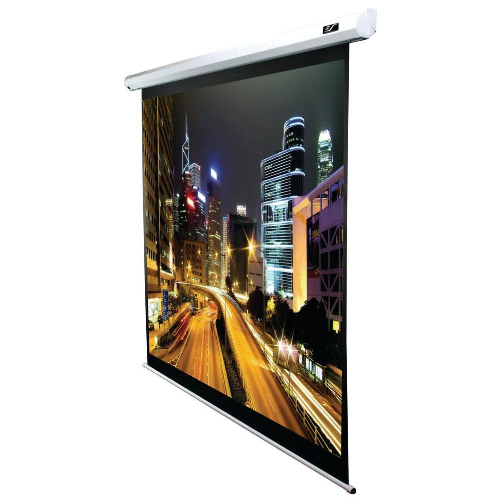 90 in. Electric Projection Screen with White Case