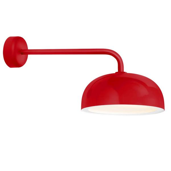 Dome 9.88 in. H 1-Light Red Outdoor Wall Mount Sconce