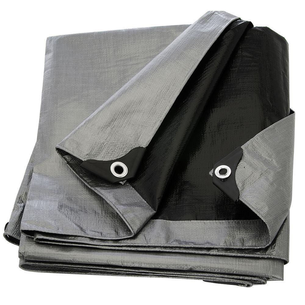 Heavy Duty Poly 8 ft. x 10 ft. Silver/Black Tarp 14x14 Weave