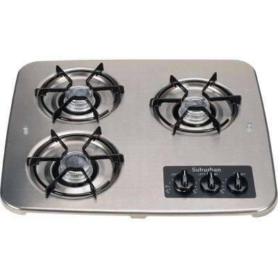3-Burner Drop-In Cooktop in Stainless Steel