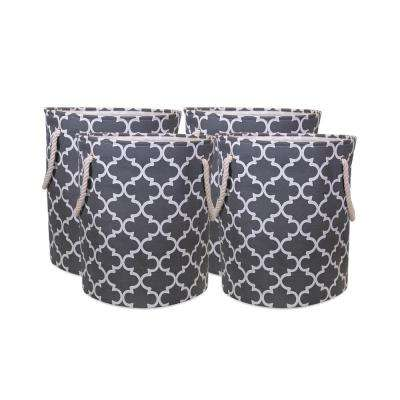 Laundry Hamper with Rope Handles in Grey Lattice Pattern (4-Pack)