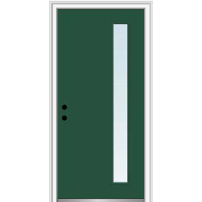 32 in. x 80 in. Viola Right-Hand Inswing 1-Lite Clear Low-E Painted Fiberglass Prehung Front Door on 4-9/16 in. Frame