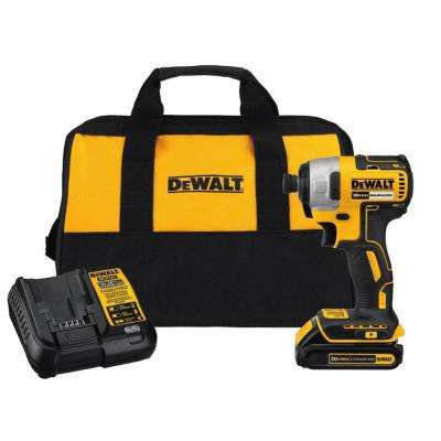 20-Volt MAX Lithium-Ion Cordless Brushless 1/4 in. Impact Driver Kit w/ (1) 20-Volt Battery 1.3 Ah, Charger & Tool Bag