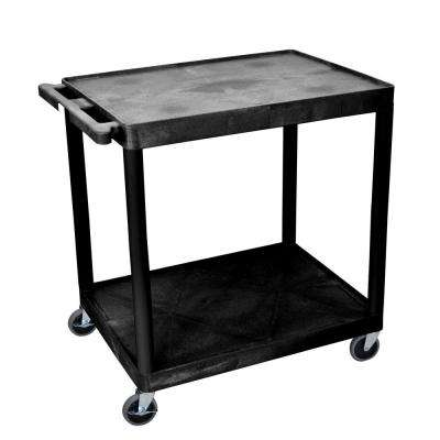 HE 32 in. 2-Shelf Utility Cart in Black