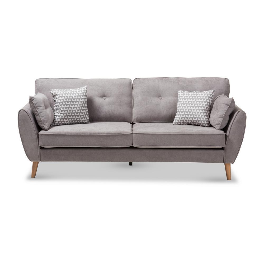 Sectional Sofa Grey Baxton Studio: Baxton Studio Miranda Light Gray Fabric Sofa-145-8212-HD