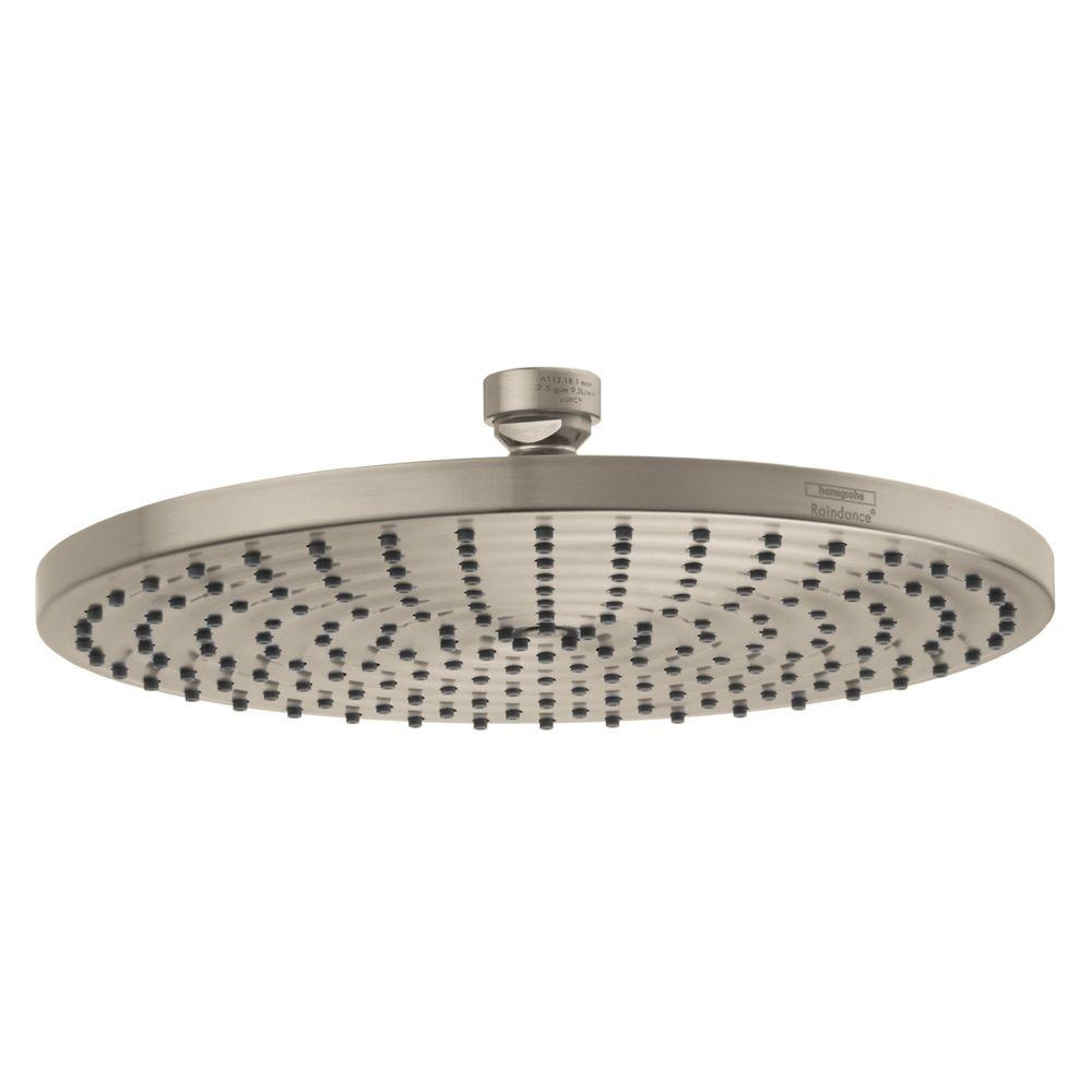 hansgrohe raindance 240 1 spray 10 in air showerhead in brushed nickel 27474821 the home depot. Black Bedroom Furniture Sets. Home Design Ideas
