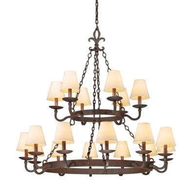 Lyon 18-Light Chandelier Burnt Sienna with Hardback Linen Shades