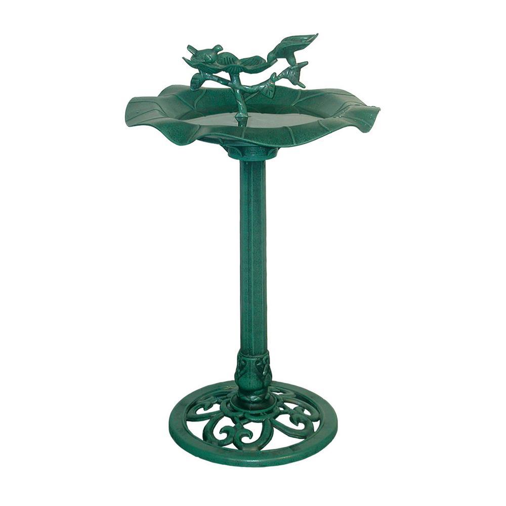33 in. Tall Green Outdoor Lotus Birdbath Yard Statue