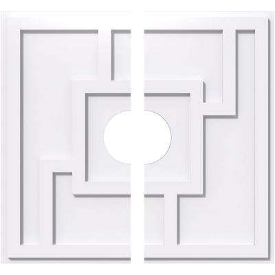14 in. OD x 3 in. ID x 1 in. P Knox Architectural Grade PVC Contemporary Ceiling Medallion (2-Piece)