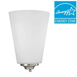 Progress Lighting 1-Light Brushed Nickel Integrated LED Wall Sconce with Etched Opal Glass by Progress Lighting