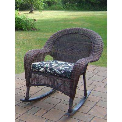 Coffee Wicker Outdoor Lounge Chair with Black Floral Cushion
