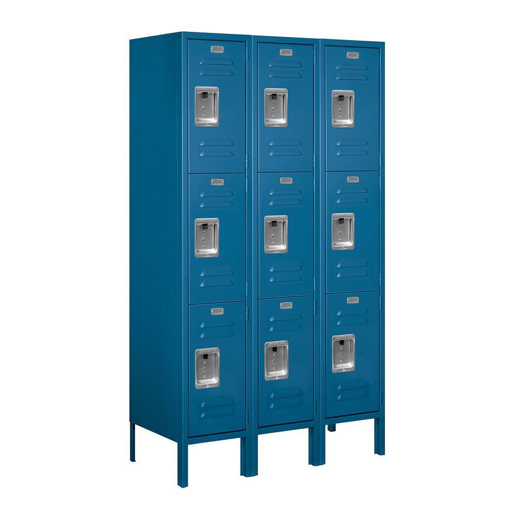 Salsbury Industries 63000 Series 36 in. W x 66 in. H x 15 in. D - Triple Tier Metal Locker Unassembled in Blue