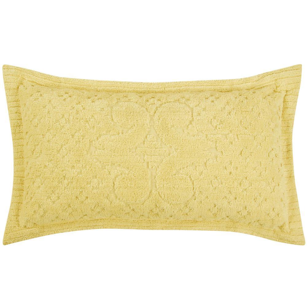 Ashton Collection in Medallion Design Yellow King 100% Cotton Tufted Chenille Sham