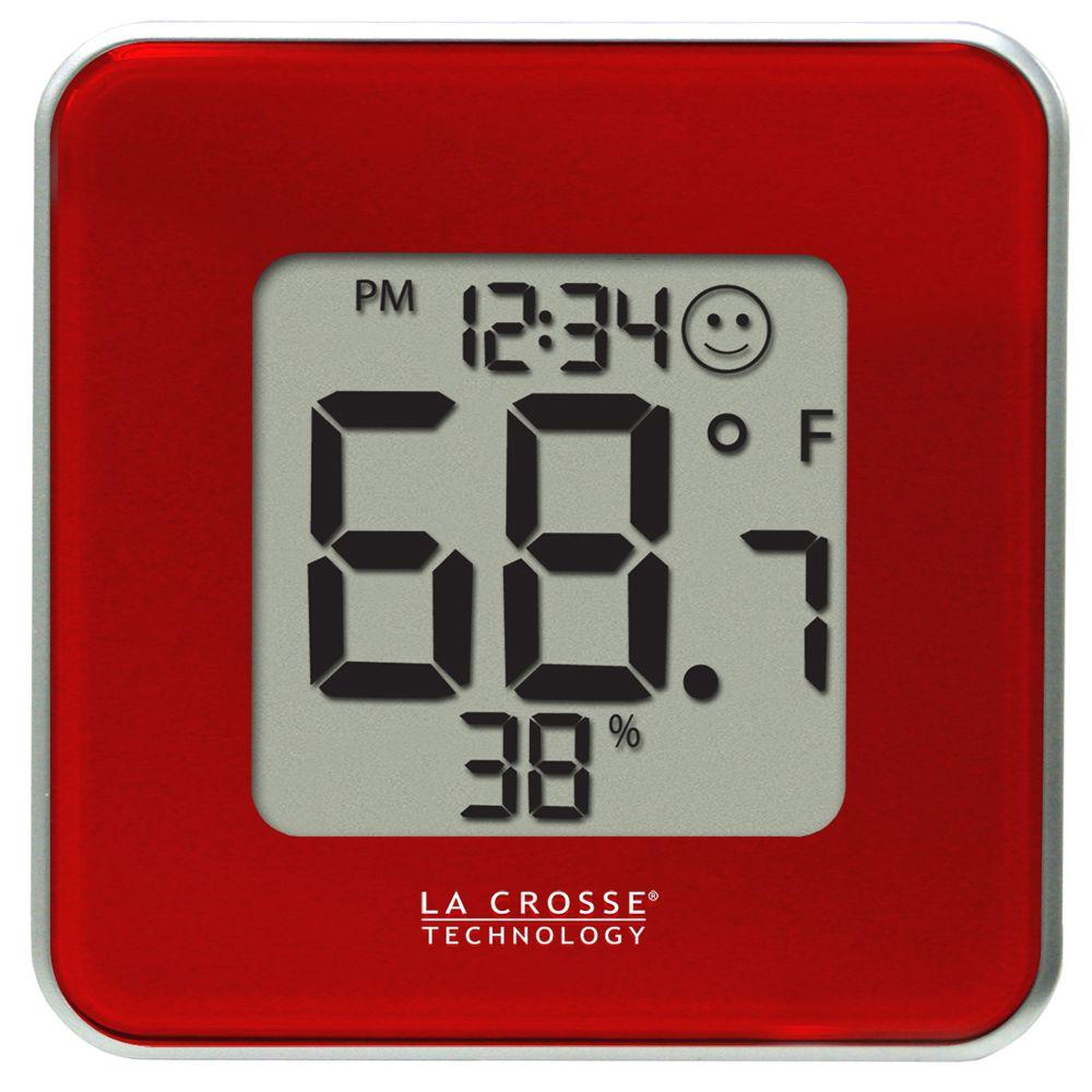 Digital Thermometer and Hygrometer in Red