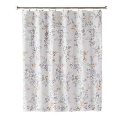 Greenhouse Leaves 72 in. Multi Shower Curtain